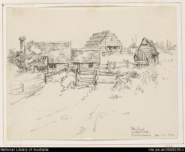 Mort, Eirene, 1879-1977. Skyline, Calstock, Deloraine, 24 December, 1932 [picture] Pencil Drawing, 15.7x20.2 cm