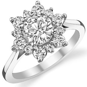 Designer Inspired Round Halo Moissanite Engagement Ring 1285