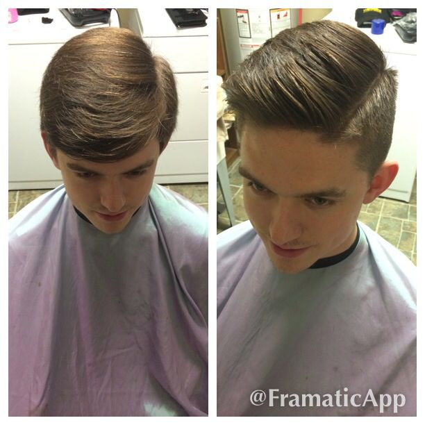 Gentle fade with cut in hard part; hair by Lanier Pearce