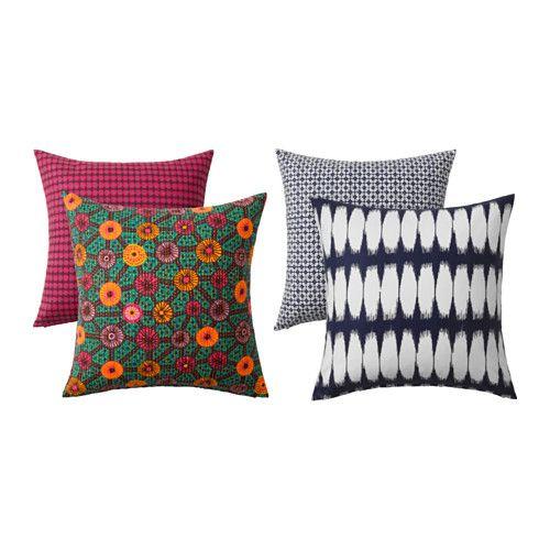 IKEA - JASSA, Housse de coussin, Vous pouvez facilement changer le décor car les deux faces ont des motifs différents.La housse est facile à retirer grâce à la fermeture à glissière.