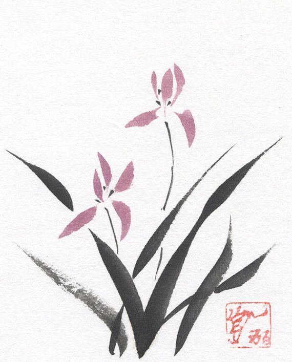 Chinese Brush - Sumi-e Grass Orchid Flower Original Watercolor and ...