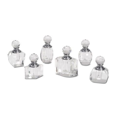 Mixing up your own fragrances, or just want to create a pretty vanity-style display? This crystal perfume bottle set is perfect for either project!These empty perfume bottles feature screw-in, cut crystal stopper tops and silver accents. The bottles vary in width, but all are approximately 2 inches tall.One crystal perfume bottle per package. When you buy the minimum quantity, you will receive one of each style shown.