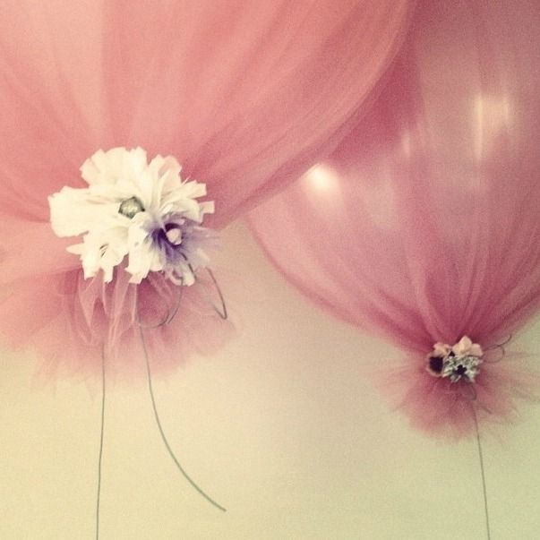 cute! Balloons covered in bits of tulle