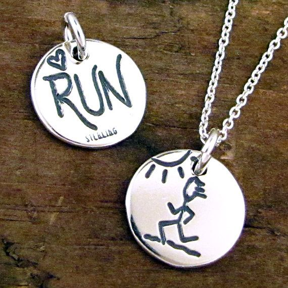 Love Running Jewelry  Silver Run Necklace  Marathon by HANNI, $28.00