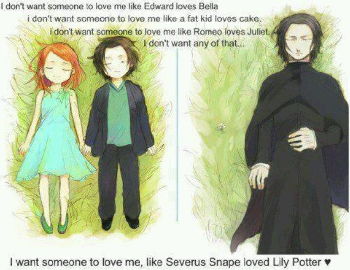 I don't want someone to love me like Severus. He did truly love her but at some point it became obsessive. She was MARRIED with A CHILD for Merlin's sake! He always hated James. I understand he was a true hero but at the same time he was a villain. He needed to realize, to move on. Lily Evans would never love him like that. He even ruined their friendship. I want someone to love me like Lily loves James, the way Tonks loves Remus, the way Harry loves Ginny, the way Ron loves Hermione. True…