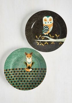 Wild the Gettin's Good Plate Set in Owl & Fox - Large