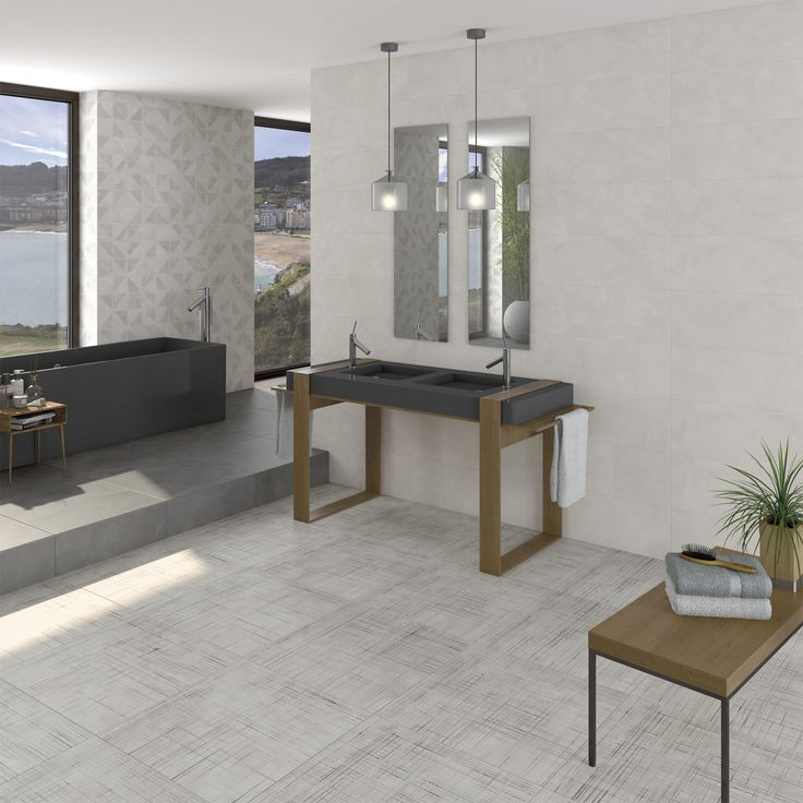 Bathroom | Baño | Lewis Gris porcelain tile 60x60 cm. | contemporary home | home inspiration | Arcana Tiles | Arcana Ceramica