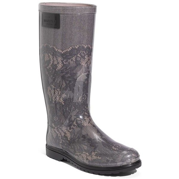 Valentino Women's Valentino Lace Print Rain Boot (4,755 MXN) ❤ liked on Polyvore featuring shoes, boots, mid-calf boots, wellington boots, rain boots, mid boots and rubber sole boots