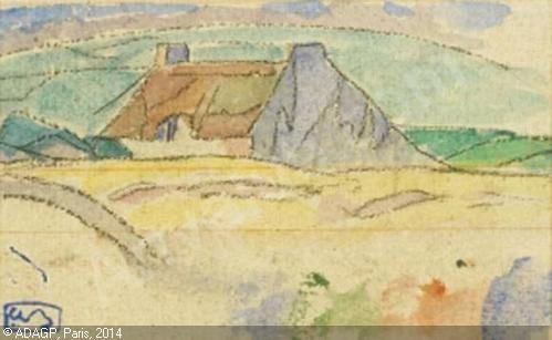 BEAUFRÈRE Adolphe Marie,Paysage de Bretagne, la chaumière au toit rouge, Kervoine