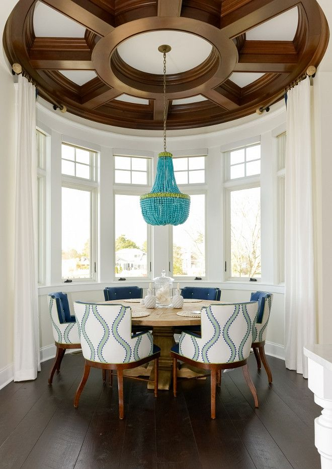 Awesome ceiling adds personality to this breakfast