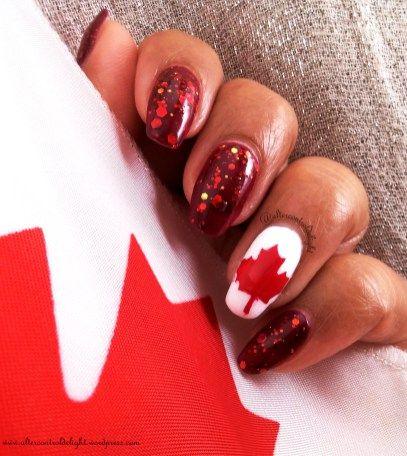 Canada Day Sparkly Mani 4/6 #nail #nailart #canadaday #whatsupnails #nailvinyl #nailstencil #mapleleaf #glitterjelly #kbshimmer #canadaflag