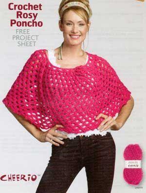 Crochet Rosy Poncho LM0179   Free Patterns