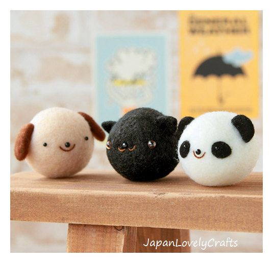 Easy Animal Felt Kit - Japanese Needle Acrylic Fiber Felt DIY Kit - Maco Maako, Hamanaka Aclaine Kit, Cute Dog, Cat, Panda Bear Doll, F147