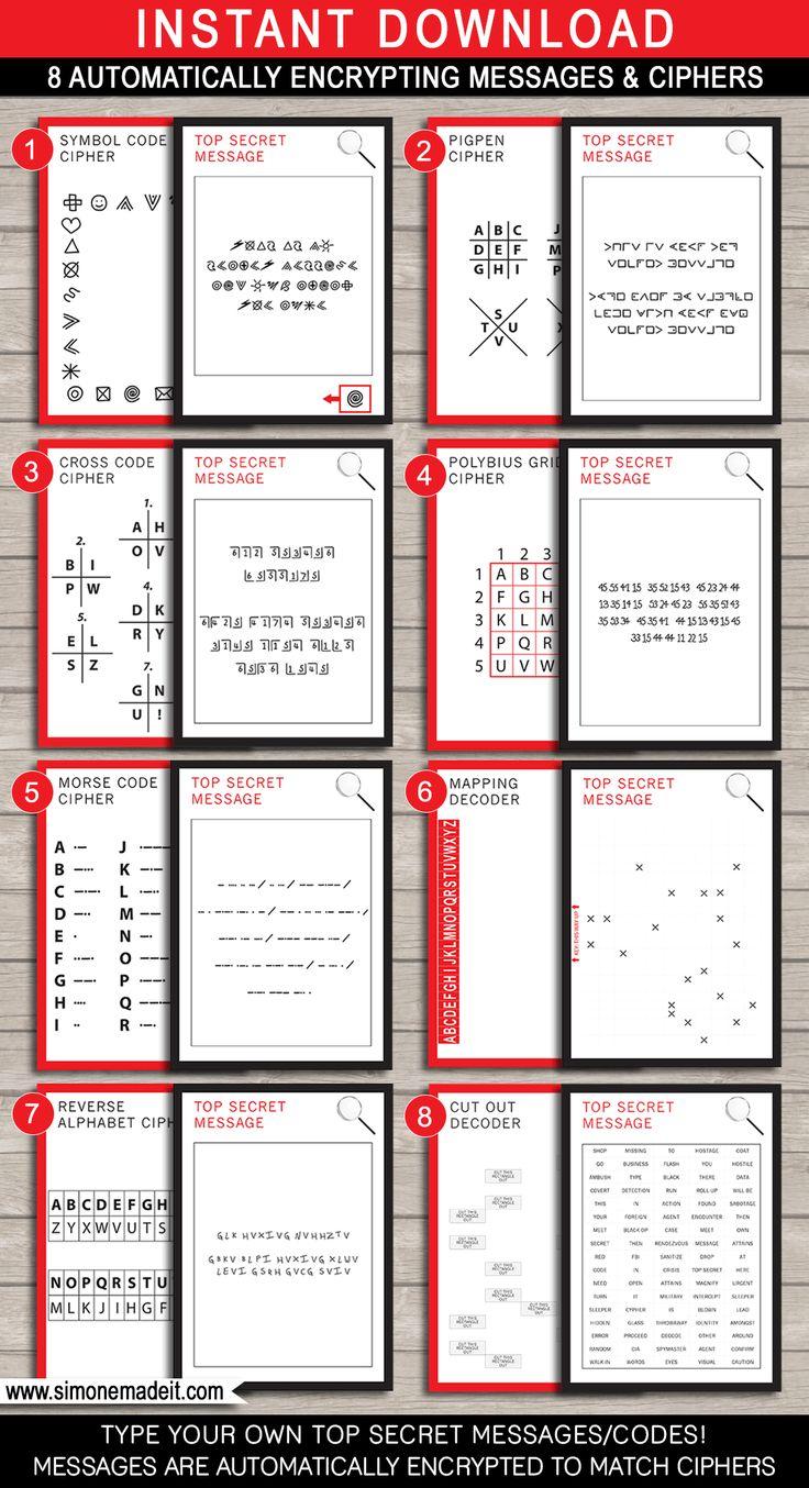 Spy Party Games - 8 Printable Secret Codes & Ciphers   Editable DIY Template   Secret Codes for kids   via SIMONEmadeit.com