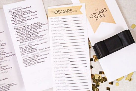 Free Printable for 2013 Academy Awards Ballot! Thanks, One Charming Party!