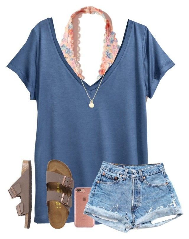 """""""OOTD: Contest ((:"""" by arieannahicks ❤ liked on Polyvore featuring Hollister Co., H&M, Speck, Sydney Evan and Birkenstock"""