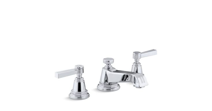 The water-saving K-13132-4B bath sink faucet has ergonomic ADA-compliant lever handles and a classic Deco style that complements traditional bathrooms.
