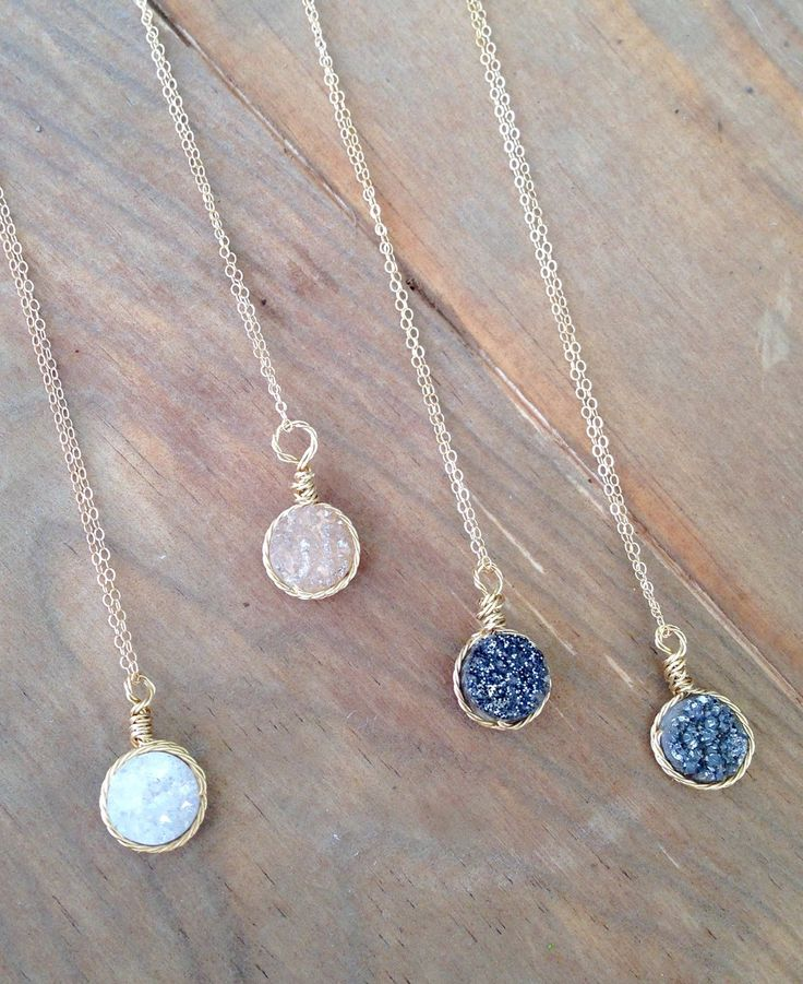 Dainty Druzy pendant necklace.Wire Wrapped Druzy with beautiful twisted gold wire on delicate 18 inch gold fill chain BRIDESMAID GIFT WEDDIN by elsajaeboutique on Etsy