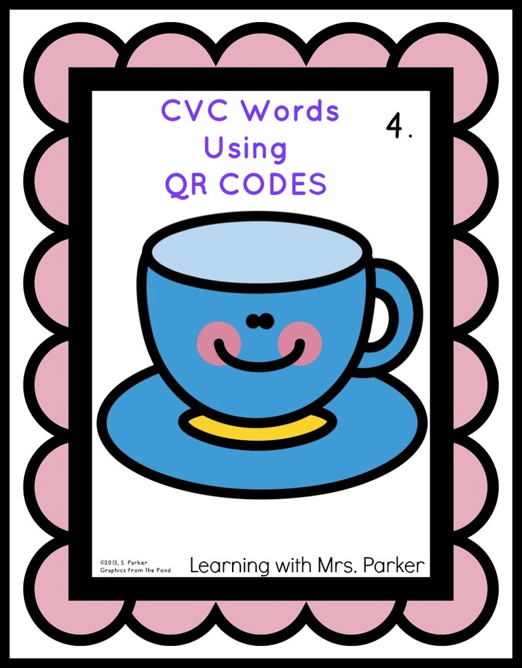 One way to use technology in the classroom:  a set of CVC QR Codes which your class can use to practice writing CVC words.