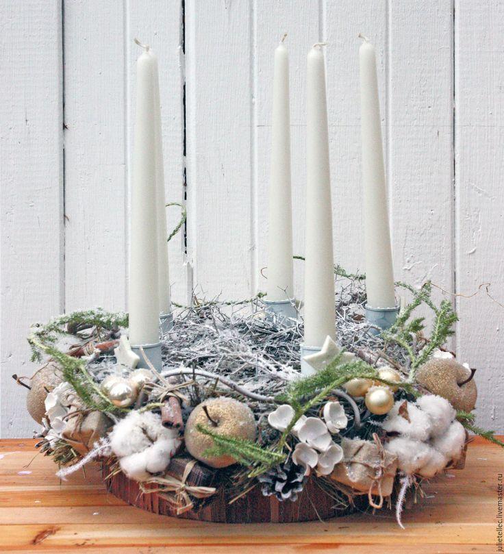 Купить Рождественская композиция - бежевый, подсвечник, декор стола, Новый Год, рождество