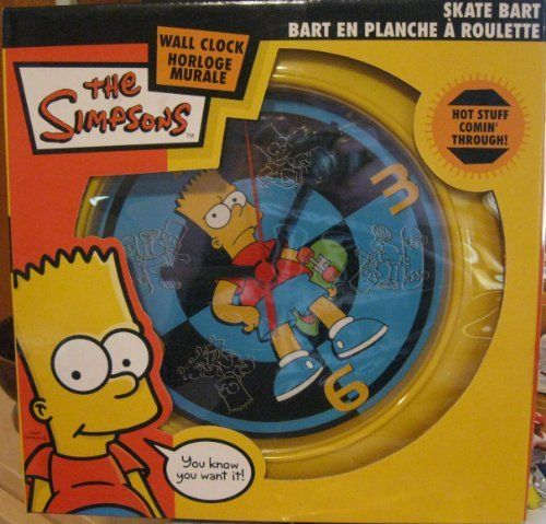 "THE SIMPSONS - BART SKATEBOARD 8"" WALL CLOCK by Danawares. $19.98. Measures 8"". Uses 1 ""AA"" Battery. The Simpsons - Bart Skateboard Wall Clock"