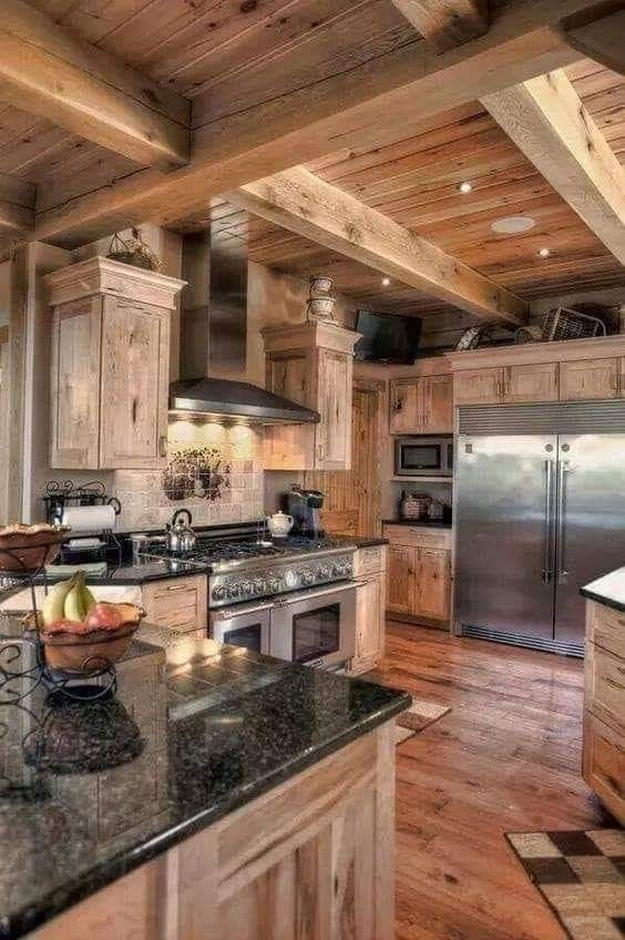 pin by carmen scheepers on my imaginary home log cabin kitchens rh pinterest com