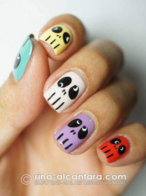 Skulls Skittles Halloween Nail Art Design   | Cute Nail Art Designs