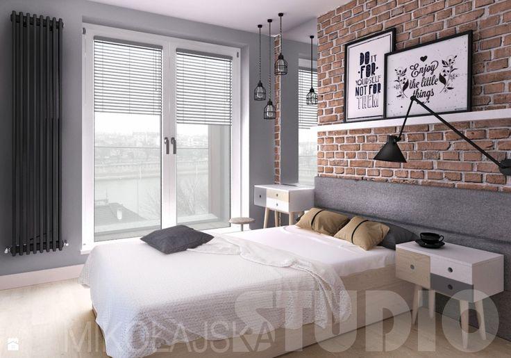 concrete-timber-brick-bedroom - zdjęcie od MIKOŁAJSKAstudio - Sypialnia - Styl Industrialny - MIKOŁAJSKAstudio