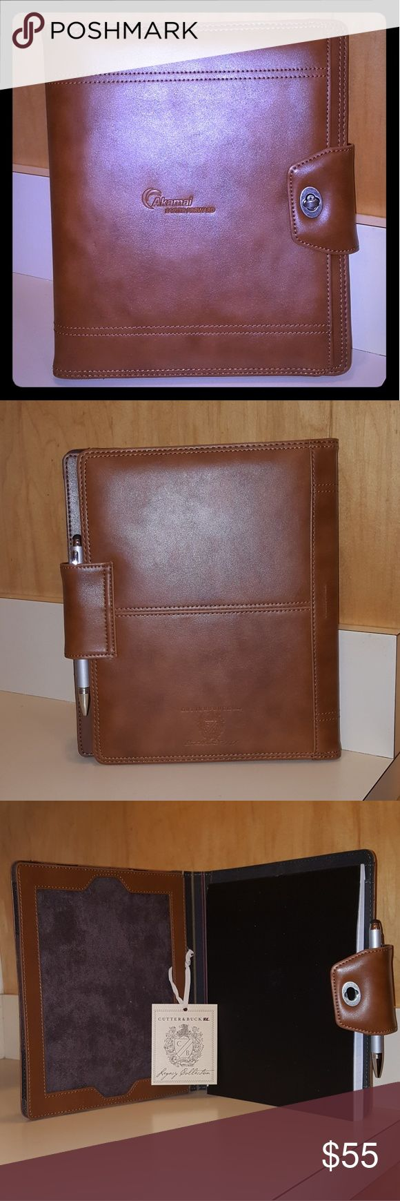 Leather Tablet Portfolio Brand New/Never Used In Original Box  Stunning Genuine Leather Tablet Portfolio that carries your tablet on the left and has a notebook and gorgeous silver diamond cut pen w/stylus! Brand: Cutter & Buck Size: One Size Fits Most Tablets  Color: Genuine Tan Leather Cutter & Buck Accessories Tablet Cases