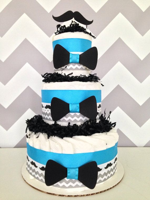 Little Man Mustache Diaper Cake, Baby Shower Gift on Etsy, $45.00