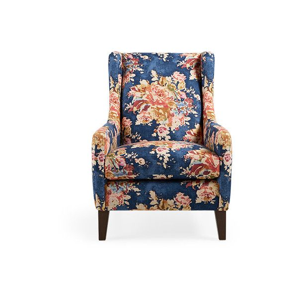 """Lena 40"""" Upholstered Chair in Venus Sapphire ($1,729) ❤ liked on Polyvore featuring home, furniture, chairs, accent chairs, upholstery fabric chair, craftsman furniture, eco friendly furniture, fabric chairs and arts and crafts furniture"""