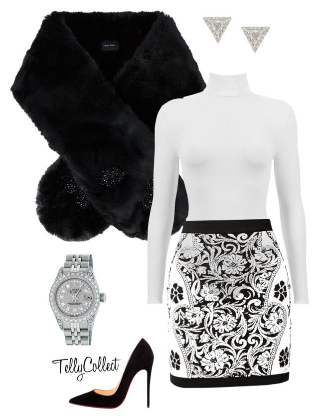 """""""Untitled #33"""" by tellycollect on Polyvore featuring Simone Rocha, Balmain, Rolex, Lizzie Mandler and Christian Louboutin"""