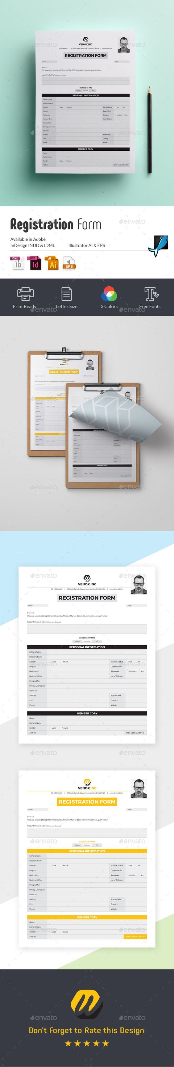 Registration Form Miscellaneous Print Templates 72