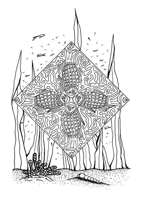 coral reef slice of life adult coloring page printables adult rh pinterest com