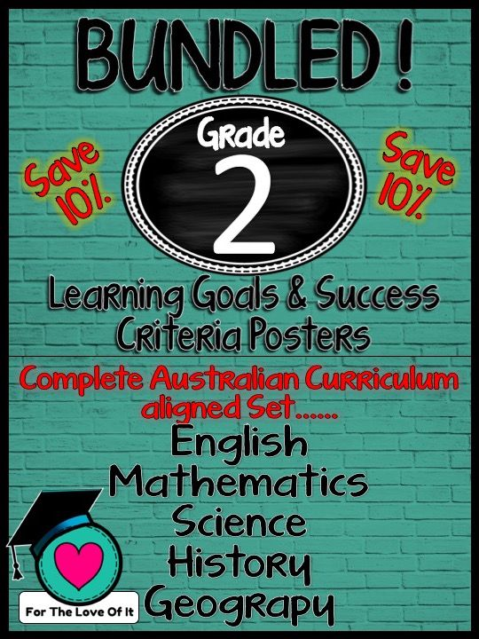 SAVE 10 % .... Do you want the convenience of one transaction and one PDF file? Well finally here it is!!! All Grade 2 Learning Goals and Success Criteria posters for All strands …Maths, English, Science, Geography and History.