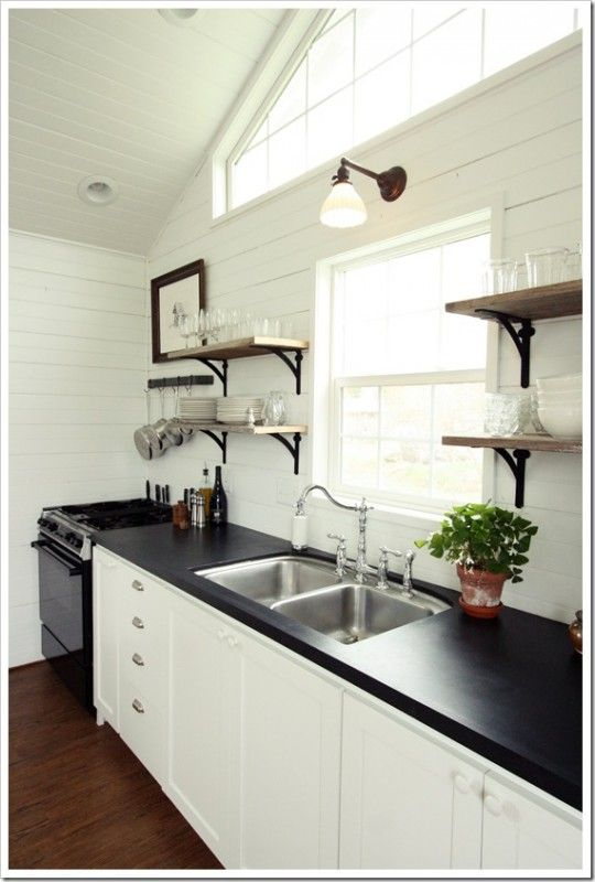 painted black faux soapstone kitchen countertops (Assortment Blog)