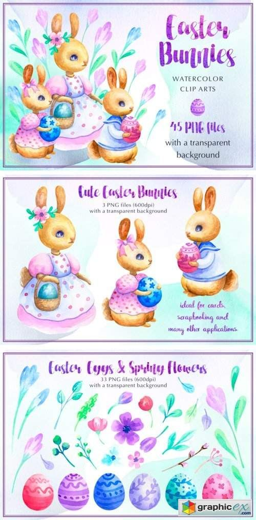 Easter Bunnies Watercolor Set | Graphicex stocks and vectors
