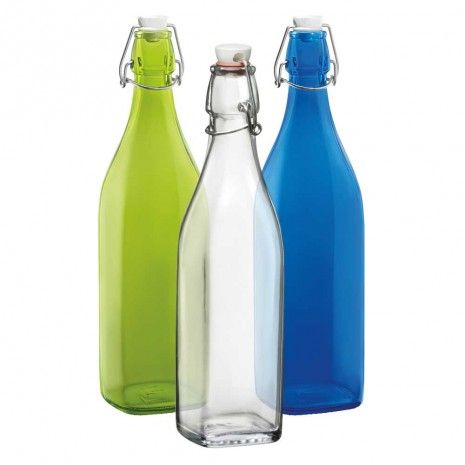 Glass Square Bottles 1Liter by Bormioli - Other & Accessories - Serveware - Tabletop