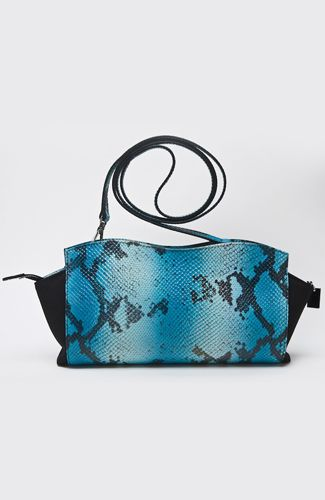 L'ED Emotion Design bag Bag with combination printed snake leather and canvas, that can be worn with detachable shoulder strap or be held as a clutch. Bag has inner led lights that are turned on when opened, and usb port for charging smart devises. Bag charger included. 25 cm width. 88%LEATHER12%CANVAS Code: LT03-1007