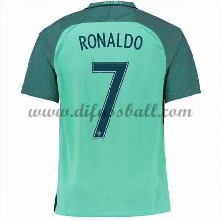 Nationaltrikot Portugal 2016 Cristiano Ronaldo 7 Kurzarm Auswärts Fußballtrikots
