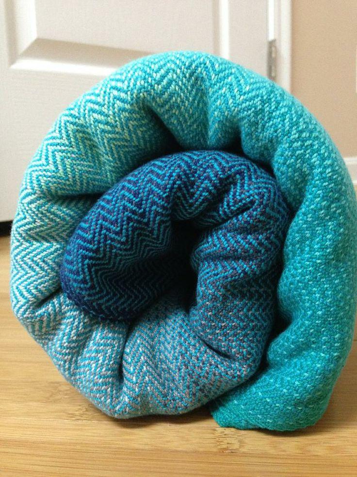 "ETLA Threadworks handwoven ""Emerald Bay"" 4.7m twill weave peacock weft baby wrap"