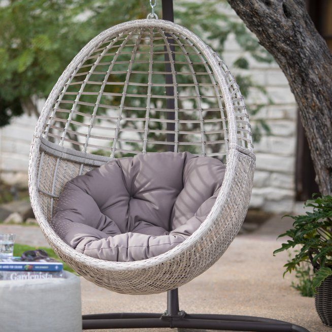 Belham Living Palma Resin Wicker Hanging Egg Chair With
