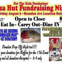 Pizza Hut % Day and Donation Drop Off Night Pizza Hut  Benefits For The Kids Fundraiser~~3 local children~~All day on Friday~~Brandon Ave~~ Eat in, Carry out, Delivery~~~ tell them it is FOR THE KIDS FUNDRAISER DAY~~ We get at least 10% of days proceeds for these kids~~please share, please care~~