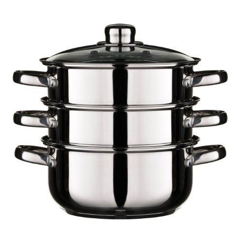 Accesorios para cocina y comedor - Olla para cocinar al vapor con tapa de cristal -  http://tienda.casuarios.com/premier-housewares-olla-para-cocinar-al-vapor-con-tapa-de-cristal-3-niveles-25-x-29-x-22-cm-acero/
