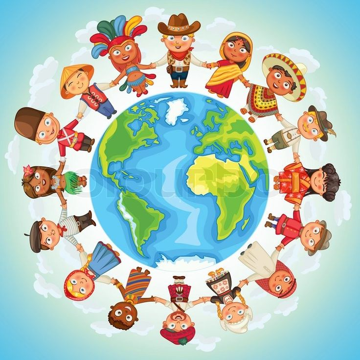Stock vector of 'Multicultural character on planet earth cultural diversity traditional folk costumes. Different culture standing together holding hands. Unity people from around the world. Vector illustration'