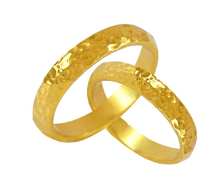 V5-1-41SFΚ Σφυρήλατη χρυσή βέρα από 295 € το ζευγάρι.