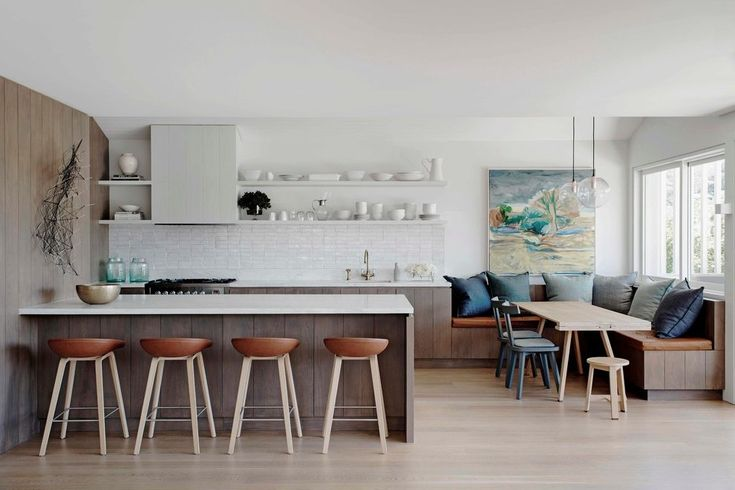 sydney kitchen booth seating with traditional dining benches beach style and floating shelves built in banquette