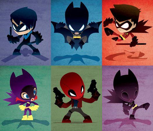 Nightwing (Richard Grayson), Batman (Bruce Wayne), Robin (Tim Drake), Batgirl (Barbara Gordon), Red Hood (Jason Todd), Black Bat (Cassandra Cain)