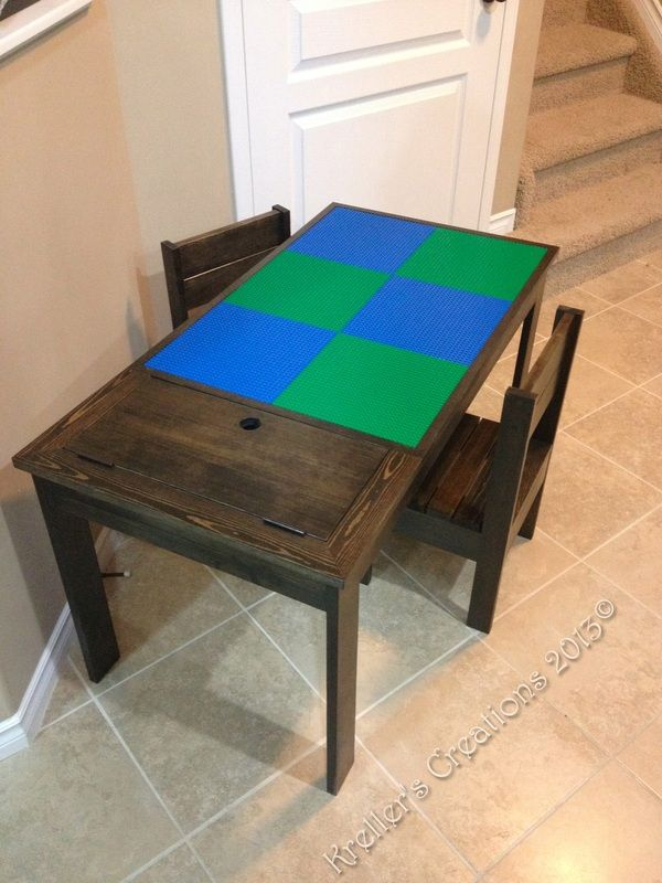 Lego Table Set 2 - Alternating lego tiles. 2 kids chairs. Solid pine stained Ebony.  From from Kreller's Creations (www.facebook.com/krellerscreations)  #craftyab