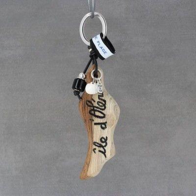 Retour de plage vous propose le porte-clefs Canapé composé de pierre et de bois flotté.
